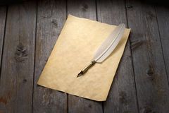 Quill Pen & Paper Background Stock Images