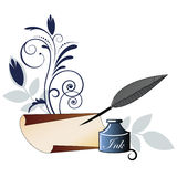 Quill Pen paper and flourish ink  Royalty Free Stock Images