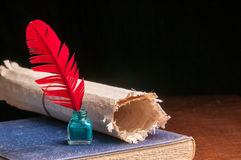 Quill pen and papyrus paper Royalty Free Stock Photo