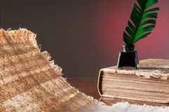 Quill pen and a papyrus sheet. Green quill pen , black inkwell on an old bookl and a backlit papyrus sheet Royalty Free Stock Photos