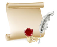 Quill pen and scroll with wax seal. Feather quill pen and and paper scroll with red seal vector illustration