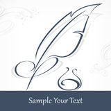 Quill pen and text. Quill pen and inkwell on white and text, vector illustration stock illustration
