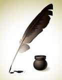 Quill Pen. Vector illustration - Quill Pen with inkwell Stock Images