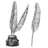 Quill Pens en inktpot Royalty-vrije Stock Foto