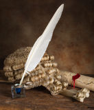Quill scroll and wig Royalty Free Stock Photo