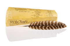 Quill and United States Constitution Royalty Free Stock Photo