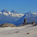 Quille Du Diable, roccia famosa nelle alpi svizzere Immagini Stock