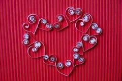 quilling在情人节的纸的心脏 图库摄影