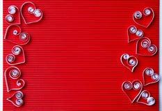 quilling在情人节的纸的心脏 免版税库存图片