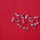 quilling在情人节的纸的心脏 库存照片