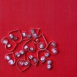 quilling在情人节的纸的心脏 库存图片