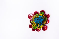 Quilling art. Paper pyramid on the white background Stock Image