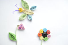 Quilling. Children's creative work in the quilling technique Stock Image