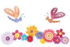 Quilling das flores e das borboletas Foto de Stock Royalty Free