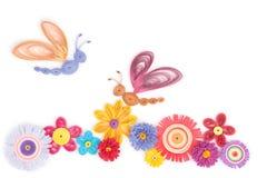 Quilling das flores e das borboletas Imagens de Stock