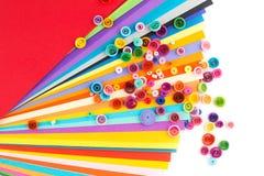 Quilling de papier, cercles de papier colorés Images libres de droits