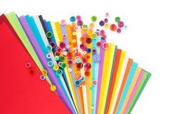 Quilling de papier, cercles de papier colorés Photographie stock libre de droits