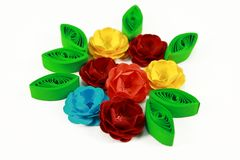 Quilling flowers. Creativity and colored quilling flowers Stock Photo