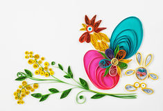 Quilling on a holiday theme Happy Easter. Crafts with their hands of quilling on a holiday theme Happy Easter. Focus on eggs royalty free stock photo