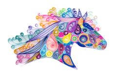 Quilling horse head. Decorative template of horse head made by quilling or quilled paper coils royalty free stock photography