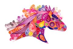 Quilling horse head. Decorative template of horse head made by quilling or quilled paper coils stock photos