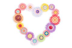 Quilling from a multi-colored heart Royalty Free Stock Photo