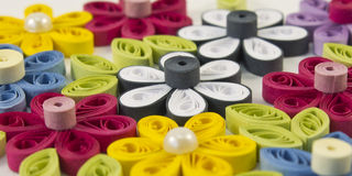 Quilling multicolored flowers. From paper Stock Image