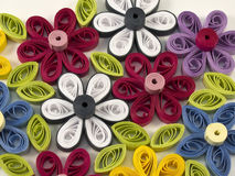 Quilling multicolored flowers. From paper Royalty Free Stock Photo