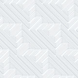 Quilling paper diagonal fastened arcs with offset. White geometric background. Seamless pattern. 3d cut out of paper effect with realistic shadow stock illustration