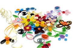 Quilling paper flower designs isolated on white Stock Image