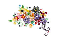 Quilling paper flower designs isolated on white. Colorful of flower paper designs on white background Stock Photography