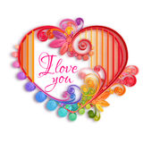 Quilling paper heart. Happy valentine day. Vector Stock Image