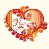 Quilling paper heart. Happy valentine day. Vector Stock Photos