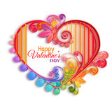 Quilling paper heart. Happy valentine day. Vector illustration Royalty Free Stock Photography