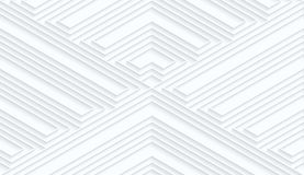 Quilling white paper striped corners. White geometric background. Seamless pattern. 3d cut out of paper effect with realistic shadow stock illustration