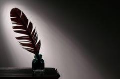 Quillpenna och bläckhorn Royaltyfri Bild