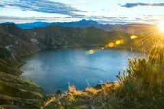 Quilotoa火山盐水湖 厄瓜多尔 库存照片