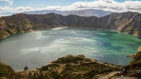 Quilotoa Crater Lake. In Ecuador. At nearly 4000m, it is an incredibly sight royalty free stock image