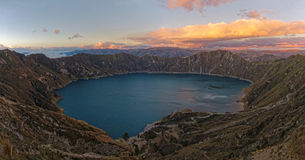 Quilotoa Crater at sunset in Ecuador Royalty Free Stock Photography