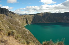 Quilotoa lagoon, Ecuador. Huge volcanic crater at height about 3,600 m. in Ecuador Andes. Excellent 6-hours trek around it Stock Photography
