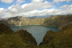 Quilotoa lagoon, Ecuador. Huge volcanic crater at height about 3,600 m. in Ecuador Andes. Excellent 6-hours trek around it Stock Photos