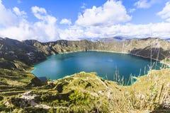 Quilotoa lagoon panorama view stock image
