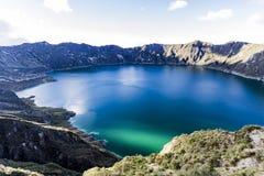 Quilotoa lagoon panorama view stock photo