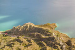 Quilotoa Lake Aerial View Royalty Free Stock Photo