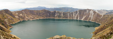 Quilotoa lake in Volcano Crater, Ecuador. Panoramic view of lake Quilotoa in the crater of a Volcano, Ecuador stock photos