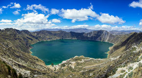 Quilotoa lake in Volcano Crater, Ecuador Stock Image