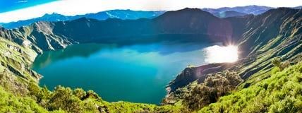 Quilotoa, Majestic volcano lake in Ecuador. Sunrise Stock Image