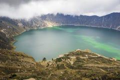 Quilotoa sjö i Ecuador Fotografering för Bildbyråer