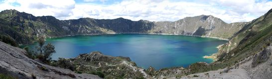 Quilotoa volcanic lake Royalty Free Stock Photo