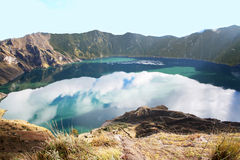 Quilotoa is a water-filled caldera, Ecvador Stock Photo